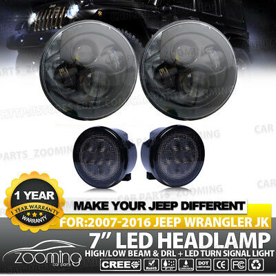 7 Inch 80W CREE LED Headlights Halo with Turn Signal Combo For 07-17 Jeep JK