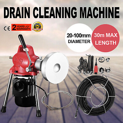 "3/4""-4""Dia Sectional Pipe Drain Cleaner Machine Heavy Duty 390W Snake Sewer"