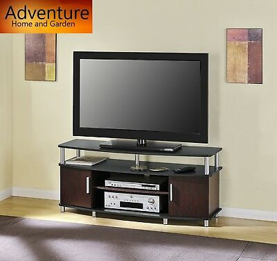"50"" inch Carson TV Stand Cabinet Entertainment Center Black and Cherry Home DVD"