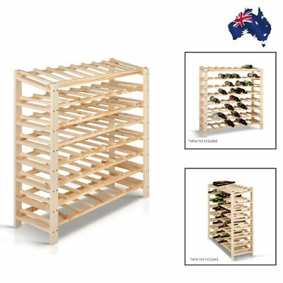 Natural Pine Wood 64 Bottles Timber Wine Rack Kitchens Bars Cellars&Restaurants