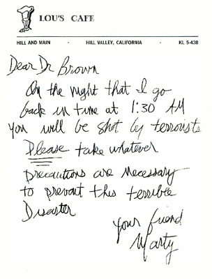 Back to the Future BTTF Lou's Cafe Doc Brown letter to Marty McFly