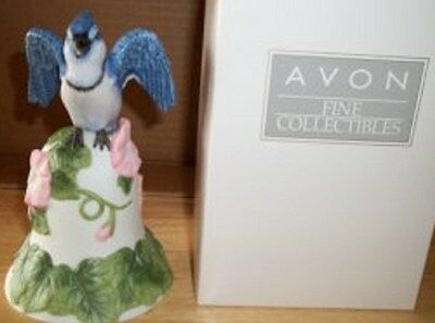 2001 Avon Blue Jay and Flower Bell Porcelain Bell-NEW IN BOX-FREE SHIPPING