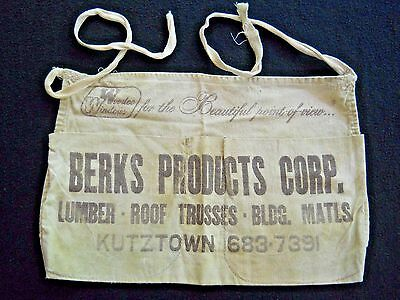 Vintage BERKS PRODUCTS CORP  carpenter's Advertising  Apron / Kutztown Pa