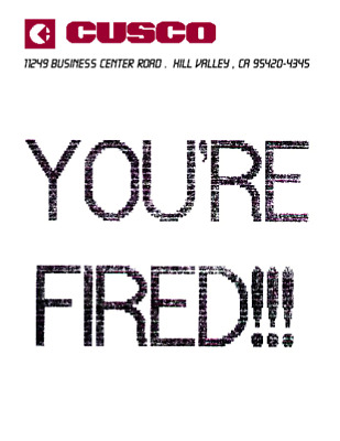 Back to the Future BTTF You're Fired Flyer Poster