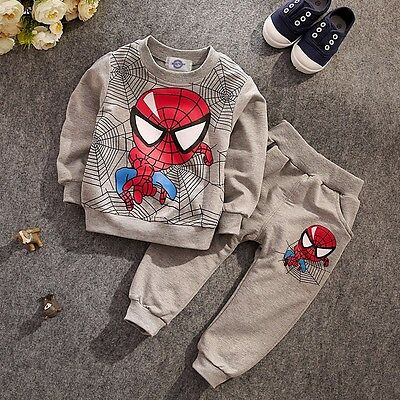 Toddler Boys Kids Outfits Spiderman Tracksuits T-shirt Pullover+Pants Sets 2-6Y