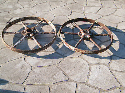 Antique Metal Wheels  X 2 ---With  Cast Iron Hubs