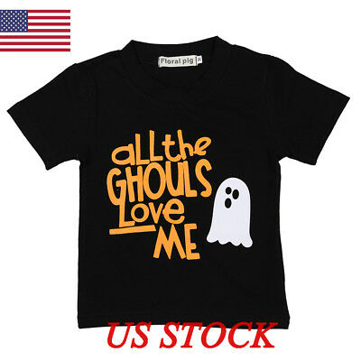 Baby Kids Boys Girls T-shirt Short Sleeves Tee Halloween Tops Clothes Outfits