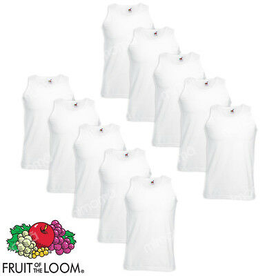 10 Canotte Bianche Canottiere Uomo Fruit Of The Loom  Valueweight