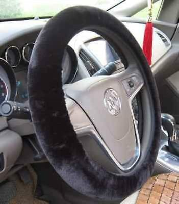 Soft Plush Black Warm Furry Fluffy Thick Faux Fur Car Steering Wheel Cover 38cm