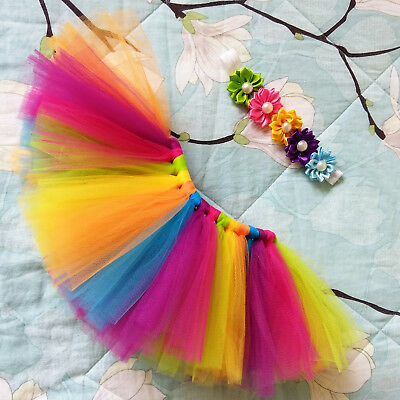 Infant Baby Girl Rainbow Tutu Skirt Dress Headband Photo Photography Prop Outfit