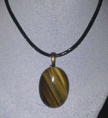 Pendant Necklace  - Tigers Eye on a black necklace JoMacDesign