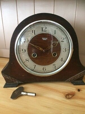 Smiths Enfield 8 Day Striking Mantle Clock 1950 *Tay* Model Not Working inc Key.