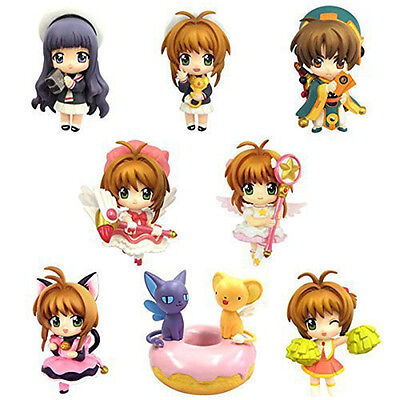 New Card Captor Sakura 8pcs Kinomoto Sakura Tomoyo Li Syaoran Figure Figurine NB