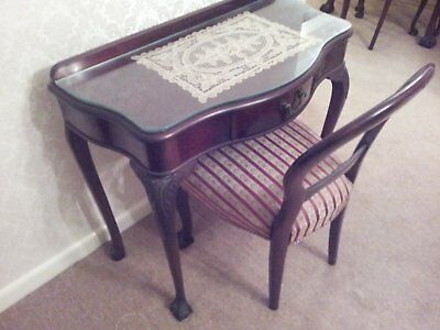 Australian Red Cedar Antique Timber Hall Side Telephone Table Glass Top & Chair