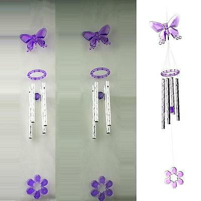 Lovely Butterfly Crystal 4 Metal Tubes Windchime Wind Chime Home Decor US LS