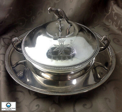 18th Century Nearly Sterling Silver Lidded Bowl Serving Dish Bowl Maltese Cross
