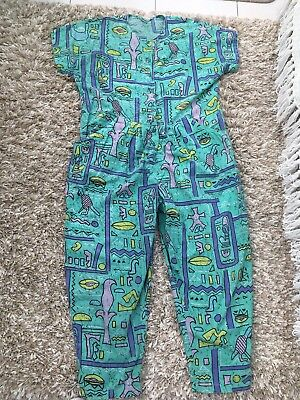Vintage 1980s Dungarees Patterned Short Wide Small