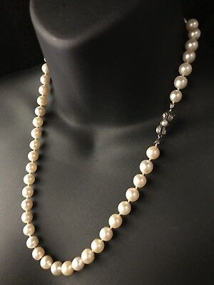 Vintage Saltwater Akoya Cultured Pearl Necklace Silver Bow Clasp 20 Inches - 929