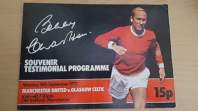 Sir Bobby Charlton GENUINE SIGNED Autograph 1972 Testimonial Programme