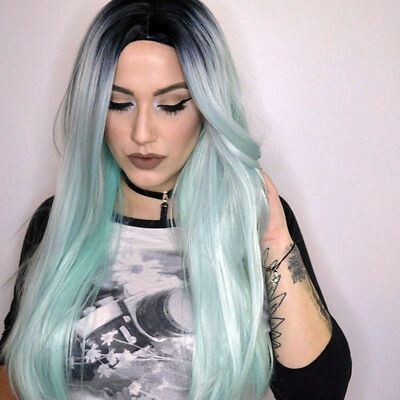Synthetic Long Straight Hair Ombre Green Wig Middle Part Natural Wigs for Women