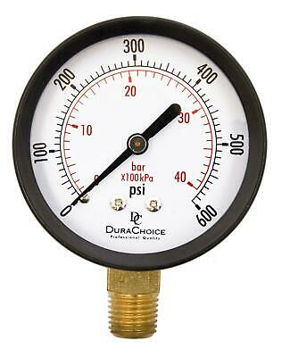 "2-1/2"" Utility Pressure Gauge - Blk.Steel 1/4"" NPT Lower Mnt. 0-600PSI"