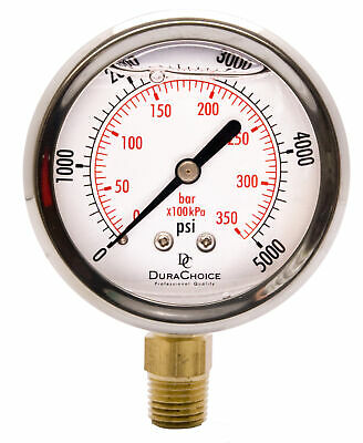 "2-1/2"" Pressure Gauge - Stainless Steel Case, 1/4""NPT, Lower Mnt. 0-5000PSI"