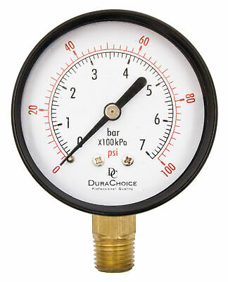 "2-1/2"" Utility Pressure Gauge - Blk.Steel 1/4"" NPT Lower Mnt. 0-100PSI"