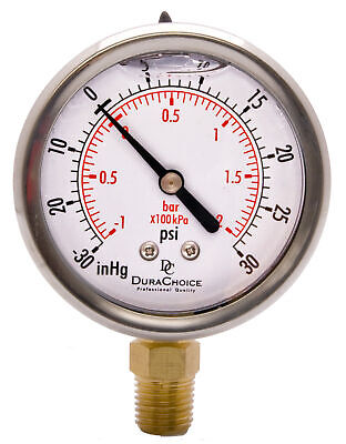 "2-1/2"" Vacuum Pressure Gauge  - S.S. Case, 1/4""NPT, Lower Mnt. -30HG/30PSI"