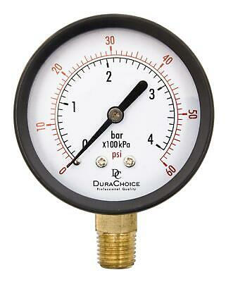 "2-1/2"" Utility Pressure Gauge - Blk.Steel 1/4"" NPT Lower Mnt. 0-60PSI"