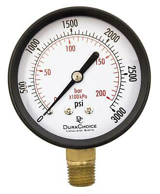 "2-1/2"" Utility Pressure Gauge - Blk.Steel 1/4"" NPT Lower Mnt 0-3000PSI"