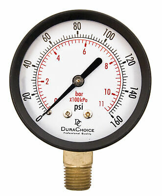 "2-1/2"" Utility Pressure Gauge - Blk.Steel 1/4"" NPT Lower Mnt. 0-160PSI"