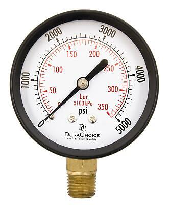 "2-1/2"" Utility Pressure Gauge - Blk.Steel 1/4"" NPT Lower Mnt 0-5000PSI"