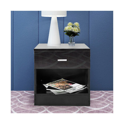 Bedside Cabinet 1 Drawer Black Bedroom Gloss Front Chest of Drawers Nightstand