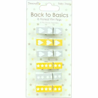 Dovecraft Back to Basics Baby Steps Mini Clothes Pegs 35 Pack Clothespin Craft