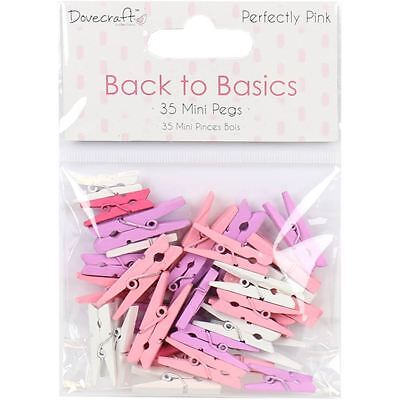 Dovecraft Back to Basics Perfectly Pink Mini Clothes Pegs 35 Pack Clothespin