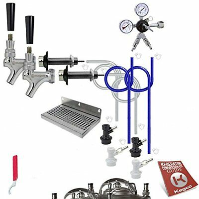 Kegco BF DHCK2 Deluxe Two Faucet Homebrew Kegerator Conversion Kit, Stainless