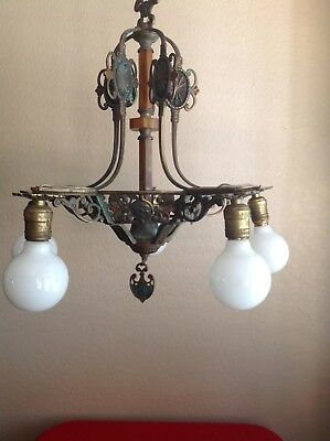 Antique 5 Arm Art Deco Hanging Cast Bronze? Light Fixture Chandelier Early 1900s