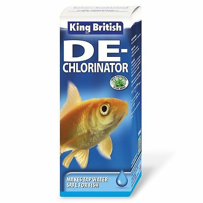 KING BRITISH DE-CHLORINATOR 100ml FISH TANK TAP COLD WATER AQUARIUM SAFE GUARD