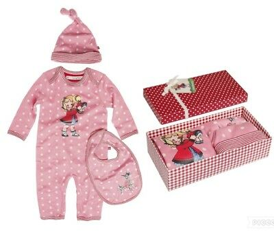 Girls Dolly Set Romper/Playsuit Hat Bib in Box New Baby Christmas Gift 0-3 Month