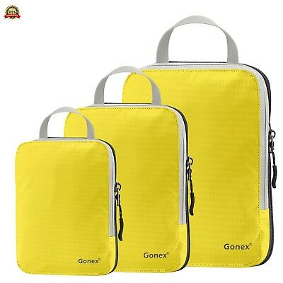 Set of 3 Gonex Packing Cubes, Clothing Compression Cube Extensible Storage Bags