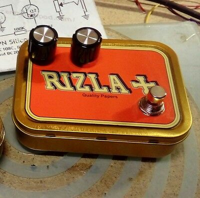 Boutique 1968-69 style BC183L fuzz face clone in Rizla backy tin CBG & Guitar