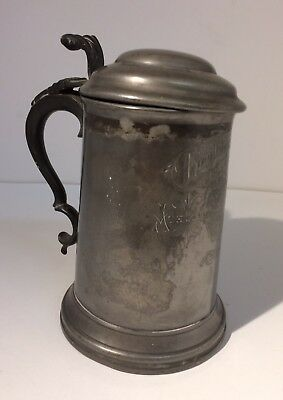 Lidded Pewter Tankard, Glass, James Dixon & Sons 1876 King Edwards School, Louth