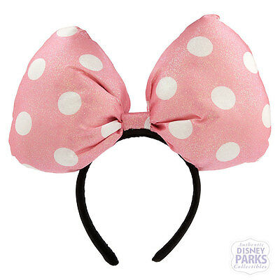 Authentic Disney Parks Minnie Mouse Super Bow Headband Pink Polka Dot Ear