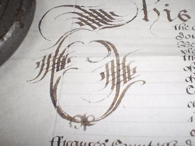 1652 Rare Commonwealth Vellum Indenture, Lincoln & Leicester & Seal, A-Grade