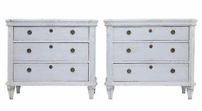 Pair Of Painted 19Th Century Swedish Chest Of Drawers