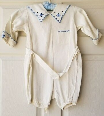 Antique Vintage Boys Romper - White with Blue Hand Embroidery