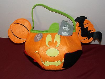 New Disney Parks 2017 Halloween Vampire Mickey Mouse Pumpkin Candy Bucket Felt