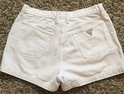 Vtg GUESS USA 90s White High Waisted Shorts Distressed 30 10 Festival