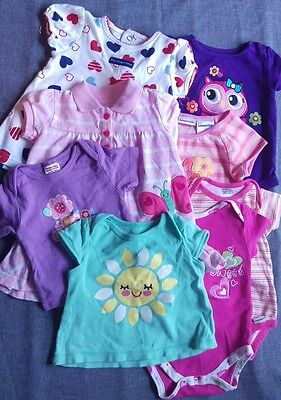Baby Girl  3-6 Month 8 PC LOT Shirts One Piece Dresses Purple Pink Green Hearts