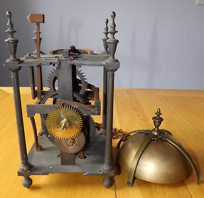 Antique Brass Lantern Clock Movement with Bell - For Restoration
